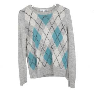 Ines De La Fressange Blue Gray Argyle Sweater